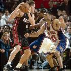 This matchup, which came after a 50-game, lockout-shortened regular season, will forever be remembered as one of only five series in which a No. 8 defeated a No. 1. The Knicks (27-23) won two games in Miami (33-17), capped by a memorable Game 5 in which Allan Houston put up a runner in the lane that bounced off the backboard and the rim before falling in with 0.8 seconds left to give the Knicks a 78-77 win.